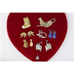 Cat Lovers Jewellery: Earrings (3 Pairs)& Brooches (6)
