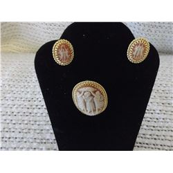 12 KT Gold Filled Cameo Brooch & Earrings (1940's)