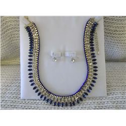 Glass Sapphire & Rhinestone Necklace Set