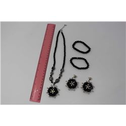 Black Crystal & Rhinestone Set: Necklace, Earrings & Bracelets