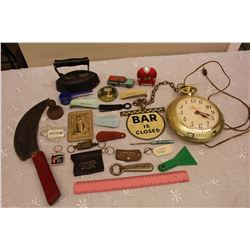 Lot of Vintage Misc (Iron, Knife, Advertising Related, Etc)