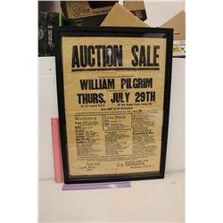 Framed Antique Auction Poster
