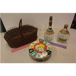 Antique Picnic Basket w/Bottles & A Tin