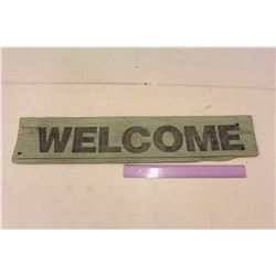 """Hanging """"Welcome"""" Barn Board Sign"""