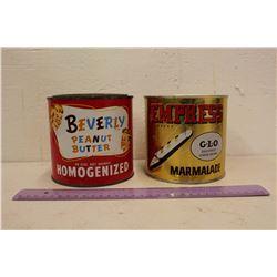 Vintage Beverly Peanut Butter & Empress Marmalade Tins