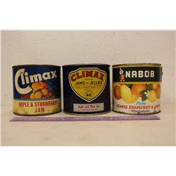 Vintage Jam Tins (3)(Climax, Nabob)