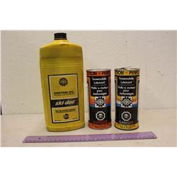 Bombardier Snowmobile Lubricant Tins (2)(1 Full)& Ski-Doo Motor Oil (Half Full)