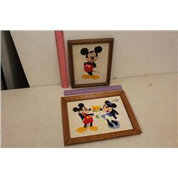 Vintage Mickey Mouse Needle Point Framed Pictures (2)