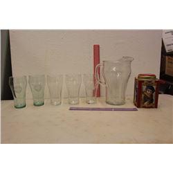 Coco-Cola Pitcher w/Glasses & A Tin