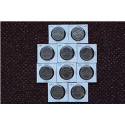 Canada Silver Dollar Coins(10): 1969,1970,1980,1981,1982,1983,1984,1985,1986