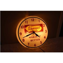 Light-Up Advertising Schweigert Clock