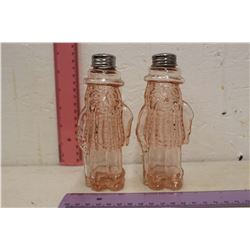 Pink Depression Glass Mr.Peanut Salt & Pepper Shakers