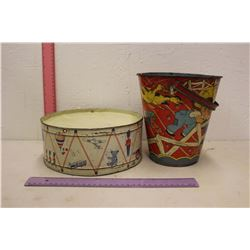 Tin Vintage Children Toys: A Bucket & Drum