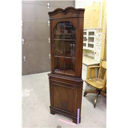 "Wooden Corner Cabinet (70""x26""x15"") w/Glass Window"