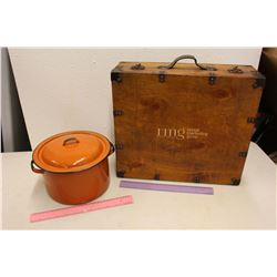 Orange Enamel Pot & A Wooden Case