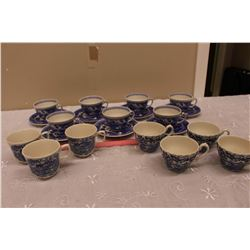 Blue & White Vintage Tea Cups & Saucers