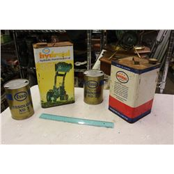 Lot Of Vintage Esso And Imperial Tins (Essolube, Hydraulic Oil, Etc)