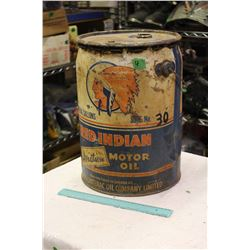 Red Indian Aviation Motor Oil Pail