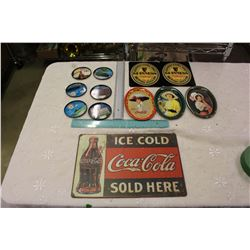Coca-Cola Sign And Lot Of Coasters (Coca-Cola, Guinness, Co-op)