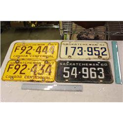 Lot Of 60's Saskatchewan License Plates