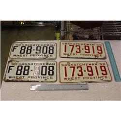 Pair Of Matching 50's Saskatchewan License Plates