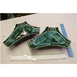 Pair Of Vintage Blue Mountain Pottery Ashtrays