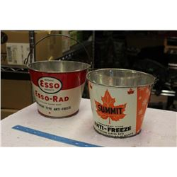 1 Gallon Cone Anti Freeze Pails (2) (Custom Made) (ESSO, Summit)
