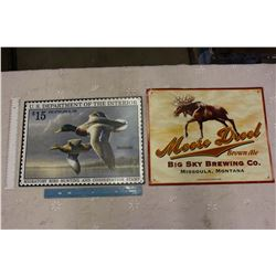 Tin Signs (2) (Moost Brool Beer And Duck Stamps)