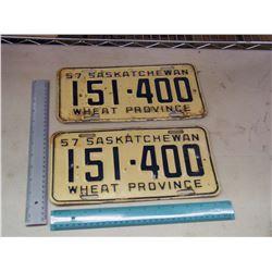 Matching 1957 Sask License Plates