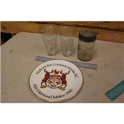 Crown Pint Sealer w/Lid, 1921-81 HBC Plate& 1993 Hockey Coco-Cola Glasses (2)