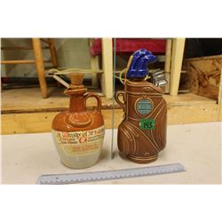 Decanters(2): World Wonders Canadian Whiskey-Potters-Golf Bag& Whiskey of The Monks Scotch Whiskey