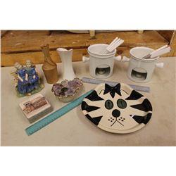 Lot of Vintage Misc: Fondue Pots w/Forks, Cat Plate, Vase, Etc
