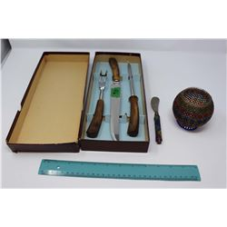 Horn Handled Carving Set (3 Piece) In Original Box, And A Beaded Relish Dish With Knife