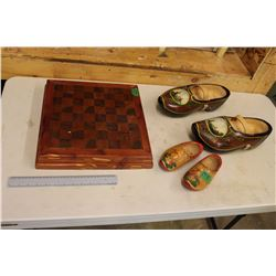 Wooden Chessboard w/2 Pairs Of Wooden Shoes (1 Child and 1 Adults, Nicely Painted and In Great Shape