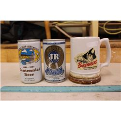 1981 Buchaneer's Coco-Cola Mug,J.R Ewings Beer Can& Great Falls Beer Can(Both Unopened)