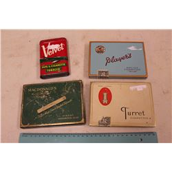 Cigarette Tins (Velvet, Players, Macdonalds& Turret)
