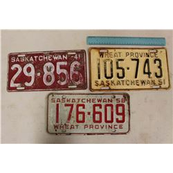 Saskatchewan License Plates (3)(1941, 1951, 1958)