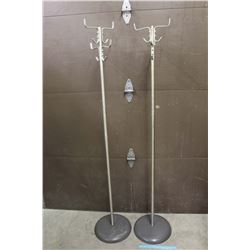 Cast Iron Base-Aluminum Shaft Coat Racks (2)(6 ft Tall)
