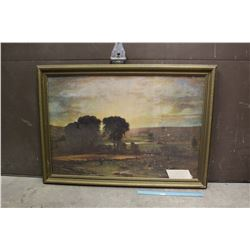 "Framed Print 'Peace & Plenty' by George Inness (33.5""x 14"") w/ 1940's RCAF Poster On Back"