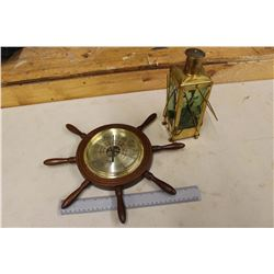 Vintage Fisher Ship Wheel Weather Barometer& Musical Lantern