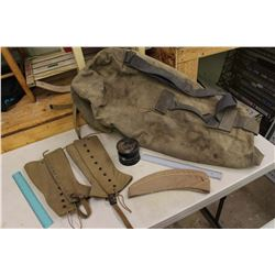 World War 2 Canadian Army Bag, Belt, Hat, Chaps, Etc