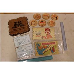 1950's Gags: Wall Plaque, Coasters, Etc