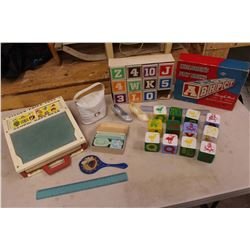 Vintage Toys: Fisher Price School Days Desk, Play Blocks, Etc