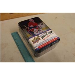 Sealed Collector Tin Box of 2015-16 Upper Deck Series 1 Hockey Cards, 12 Packs