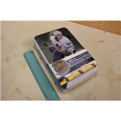 Sealed Collector Tin Box of 2017-18 Upper Deck Series 1 Hockey Cards, 12 Packs