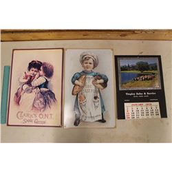 1978 SK. Advert. Calendar & 2 Tin Signs (Yeast Foam & Clark's O.N.T Spoon Cotton)