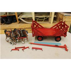 Toy Horses w/Wooden Wagon