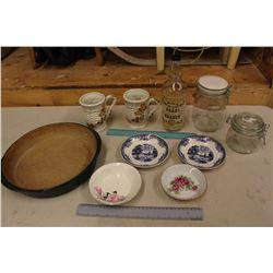 Lot of Vintage Dishware (Jars, Mugs, Saucers, Etc)