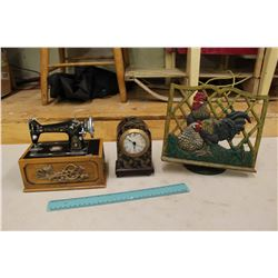 Miniature Singer Sewing Machine Supply Container, Clock& A Cast Iron Rooster Decoration