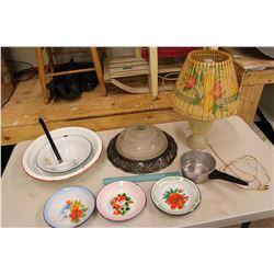 Lot of Vintage Misc (Working Lamp, Enamelware, Etc)